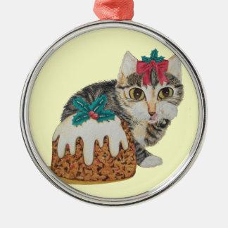 Ornement Rond Argenté chat tigré gris de chaton mignon léchant Noël de