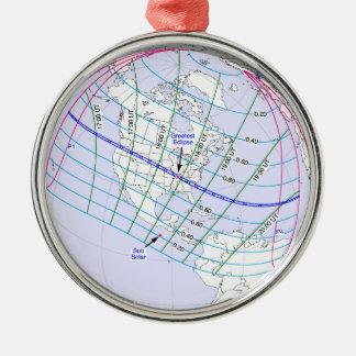 Ornement Rond Argenté Chemin global de l'éclipse solaire 2017 totaux