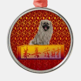 Ornement Rond Argenté Chien de Pekingese la nouvelle année chinoise
