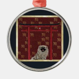 Ornement Rond Argenté Chien de Pekingese, voûte asiatique rouge, signe