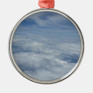 Ornement Rond Argenté ciel bleu de matin