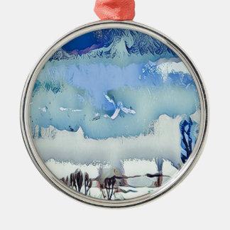 Ornement Rond Argenté Ciel coloré d'horizon d'abrégé sur bleu d'hiver