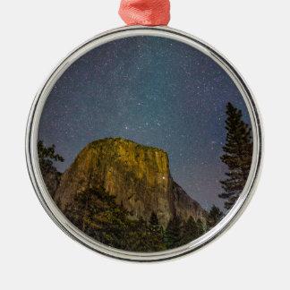 Ornement Rond Argenté Ciel nocturne d'EL Capitan de vallée de Yosemite