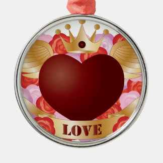 Ornement Rond Argenté Coeur de vol avec la bannière et les roses