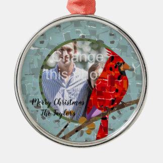 Ornement Rond Argenté Collage cardinal d'oiseau de Noël