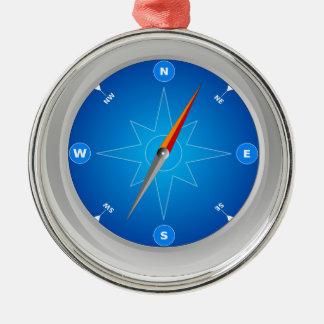 Ornement Rond Argenté Compass Safari Navigation