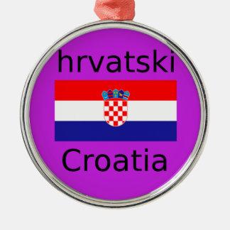 Ornement Rond Argenté Conception croate de drapeau et de langue