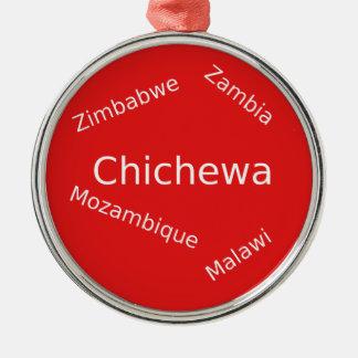 Ornement Rond Argenté Conception de langue de Chichewa