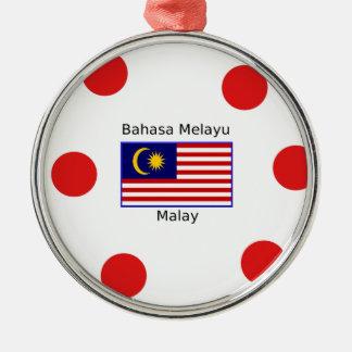 Ornement Rond Argenté Conception de langue de drapeau et de Malais de la