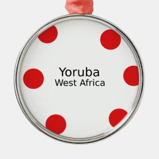Ornement Rond Argenté Conception de Yoruba (langue de l'Afrique de