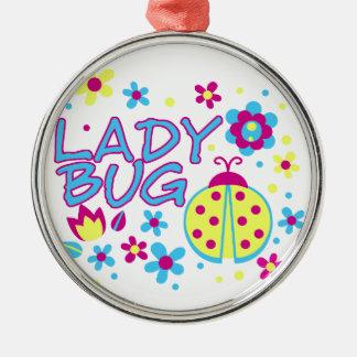Ornement Rond Argenté Conception d'insecte de Madame
