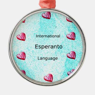 Ornement Rond Argenté Conception internationale de langue d'espéranto