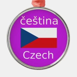 Ornement Rond Argenté Conception tchèque de drapeau et de langue