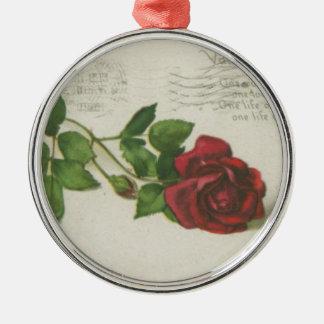 Ornement Rond Argenté Copie de lettre de timbre de rose de cru