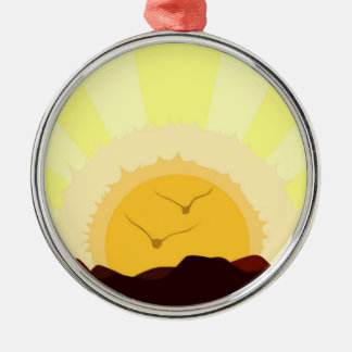 Ornement Rond Argenté Coucher du soleil