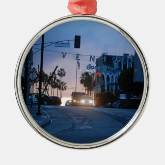 Ornement Rond Argenté coucher du soleil de Venise
