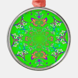 Ornement Rond Argenté Couleurs florales lumineuses colorées de