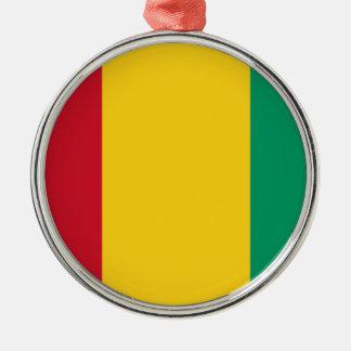 Ornement Rond Argenté Coût bas ! Drapeau de Guinée