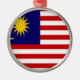 Ornement Rond Argenté Coût bas ! Drapeau de la Malaisie
