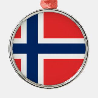 Ornement Rond Argenté Coût bas ! Drapeau de la Norvège