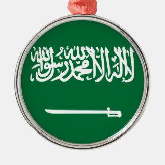 Ornement Rond Argenté Coût bas ! Drapeau de l'Arabie Saoudite