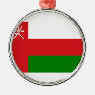 Ornement Rond Argenté Coût bas ! Drapeau de l'Oman