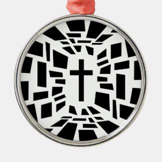 Ornement Rond Argenté Croix chrétienne