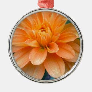 Ornement Rond Argenté Dahlia orange
