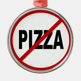 Ornement Rond Argenté Déclaration de signe permise par pizza de /No de