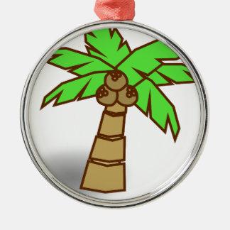 Ornement Rond Argenté Dessin de palmier