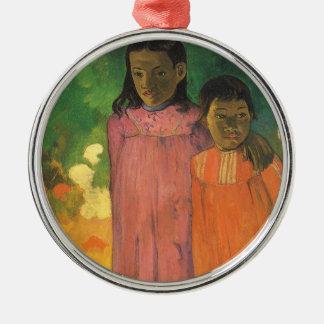 Ornement Rond Argenté Deux soeurs par Paul Gauguin, impressionisme