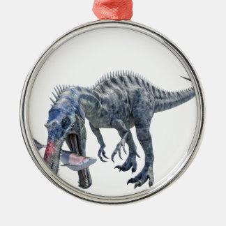 Ornement Rond Argenté Dinosaure de Suchomimus mangeant un requin