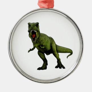 Ornement Rond Argenté Dinosaures T-Rex