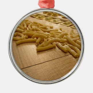 Ornement Rond Argenté Divers mélange des pâtes faites maison italiennes
