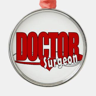 ORNEMENT ROND ARGENTÉ DOCTEUR SURGEON DE LOGO