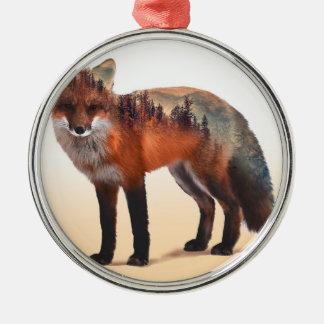 Ornement Rond Argenté Double exposition de Fox - art de renard - renard