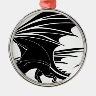 Ornement Rond Argenté Dragon fâché