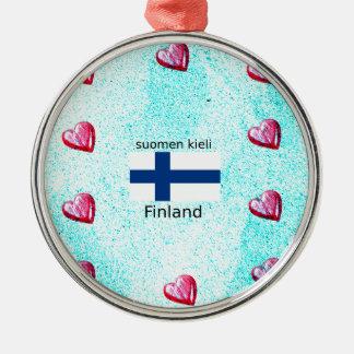 Ornement Rond Argenté Drapeau de la Finlande et conception finlandaise