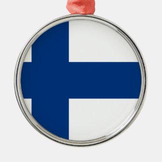 Ornement Rond Argenté Drapeau de la Finlande (lippu de Suomen, flagga de
