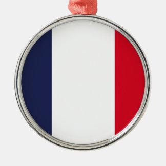 Ornement Rond Argenté Drapeau de la France