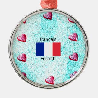 Ornement Rond Argenté Drapeau de la France et conception de langue