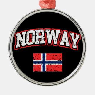 Ornement Rond Argenté Drapeau de la Norvège