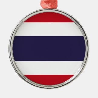 Ornement Rond Argenté Drapeau de la Thaïlande