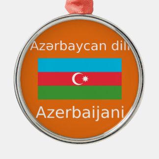 Ornement Rond Argenté Drapeau de l'Azerbaïdjan et conception de langue