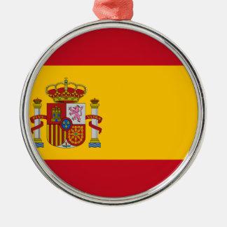 Ornement Rond Argenté Drapeau de l'Espagne - le Bandera de España -
