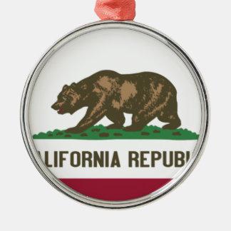 Ornement Rond Argenté Drapeau de l'état Californien