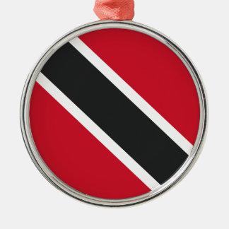 Ornement Rond Argenté Drapeau de Trinidadtobago