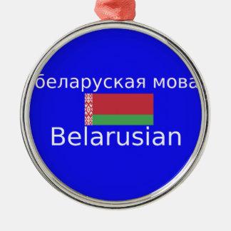 Ornement Rond Argenté Drapeau du Belarus et conception de langue