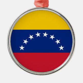 Ornement Rond Argenté Drapeau vénézuélien - drapeau du Venezuela - le