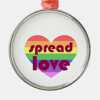 Ornement Rond Argenté Écartez l'amour gai